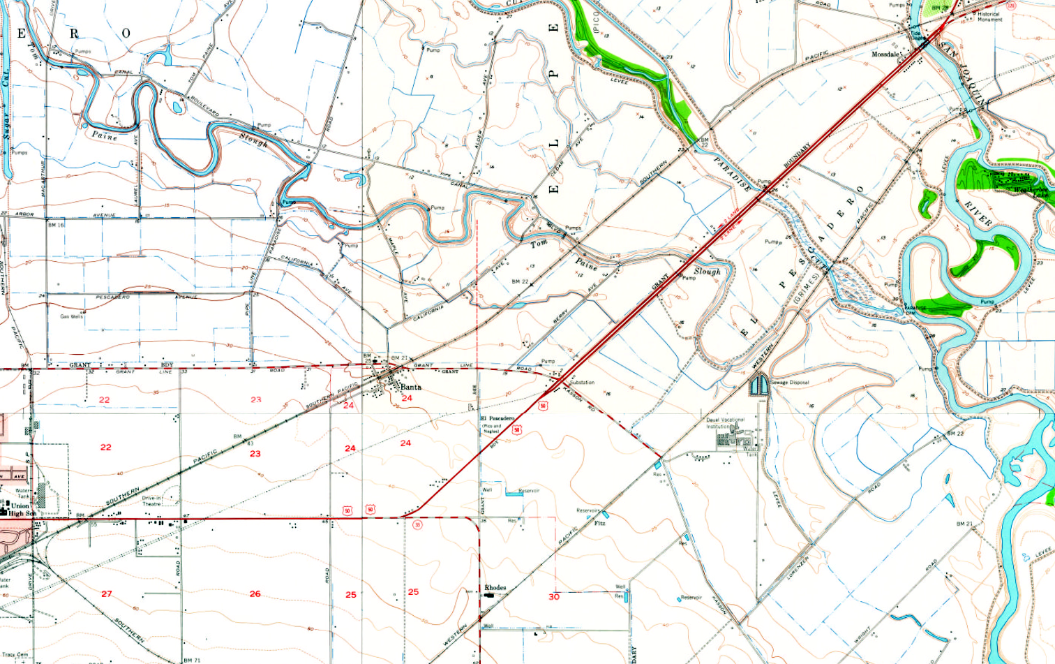 USGS Banta, Calif., Area Map